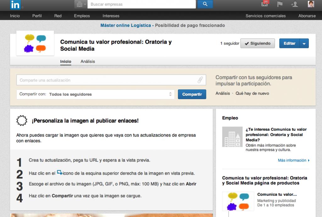 Puedes crear la página de producto desde el desplegable de la parte superior derecha de Linkedin